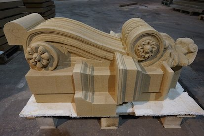 Bespoke Carved Sandstone Corbel by Cumbrian Stone