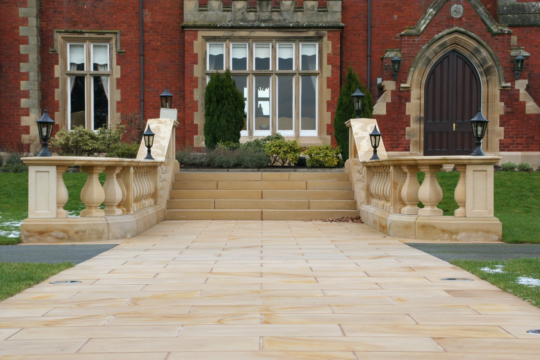 Buff Sandstone Paving and Staircase by Cumbrian Stone