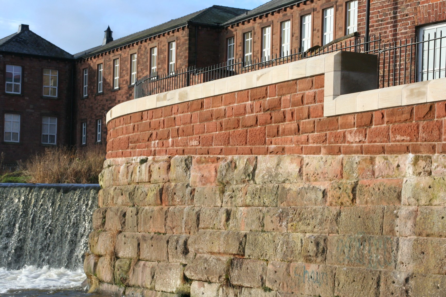 Red Sandstone Flood Defence Walls by Cumbrian Stone