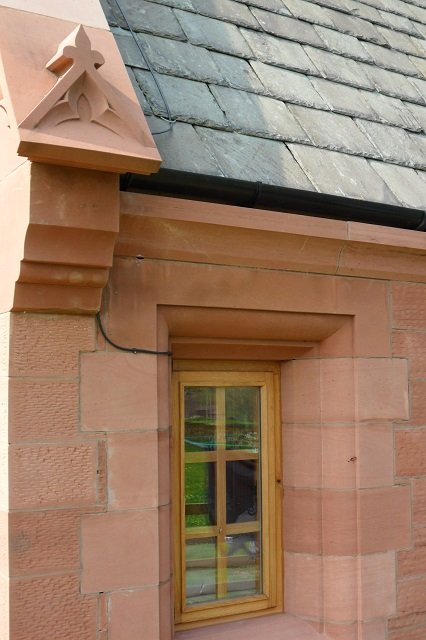 Red Sandstone Window Surround and Sandstone Corbel by Cumbrian Stone