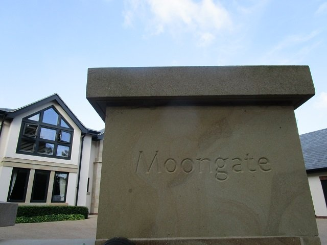Lettered Sandstone gatepost by Cumbrian Stone