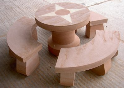 Lazonby Sandstone Table and Sandstone Seats by Cumbrian Stone
